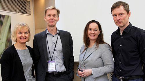 Anna Granö, Managing Director på HPE i Sverige, Anders Jönebratt, CIO på Karolinska universitetssjukhuset, Annika Rådeström, CIO på Telia Sverig, och Mikael Norberg, CTO på Försäkringskassan